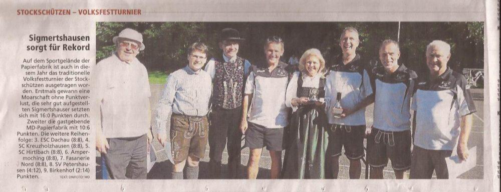 19.August 2016 Volksfestturnier der Stockschützen MD Dachau Sigmertshausen sorgt für  Rekord